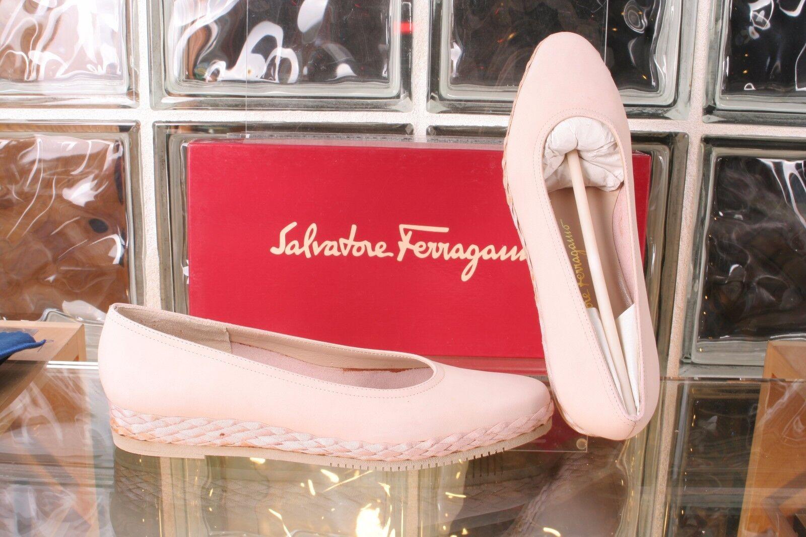 Salvatore Ferragamo SPRING Alba Nabuck Calf & Fabric Womens shoes Size 6.5B