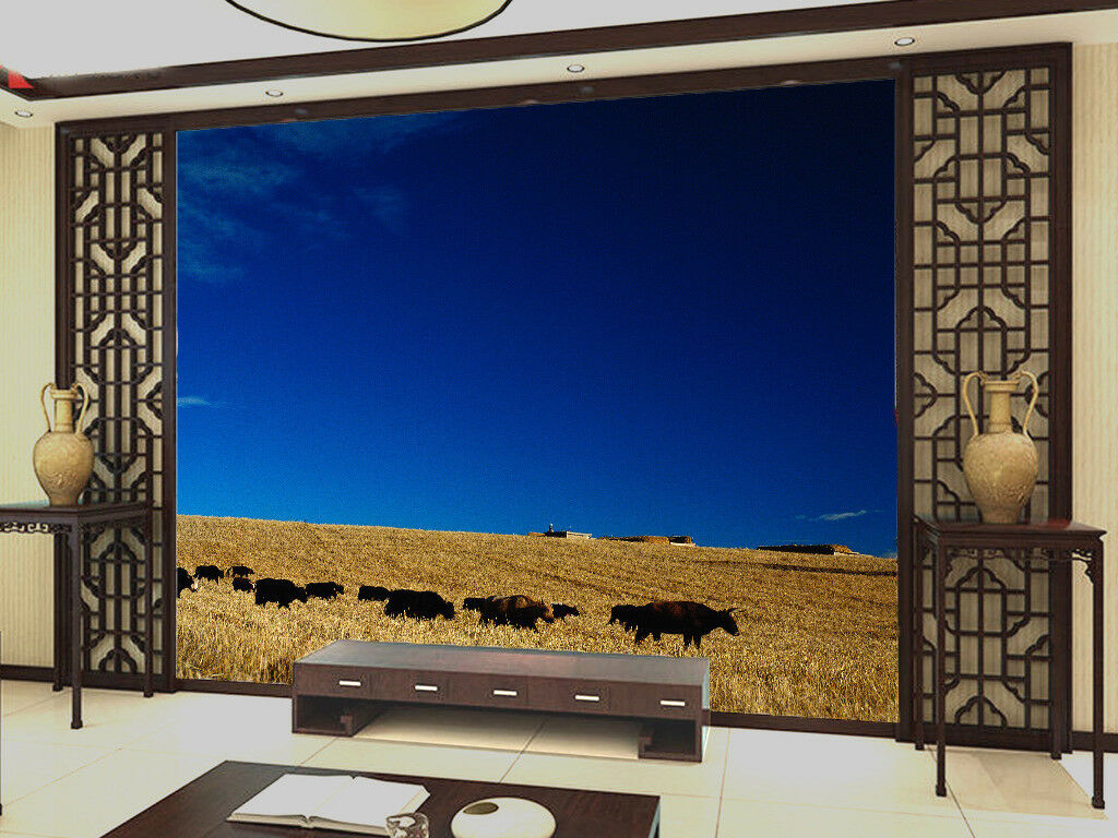 3D Cow Group Sky 44 Wall Paper Wall Print Decal Wall Deco Indoor Mural Summer