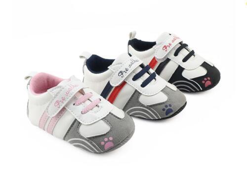Newborn Baby Crib Chaussures Bébé Garçon Fille Baskets Toddler Prewalker Formateurs 0-12