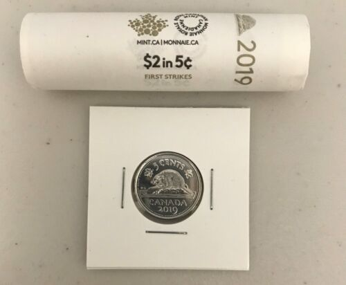UNC From mint roll CANADA 2019 New 5 cents ORIGINAL BEAVER Circulation coin