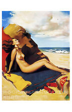 Pin Up Girl Poster 11x17 nude redhead red hair by the ocean art deco