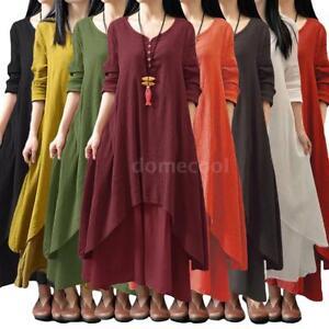 dde35bf3da Image is loading Muslim-Women-Kaftan-Abaya-Jilbab-Islamic-Girl-Cotton-