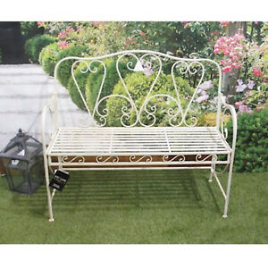 Image Is Loading Vintage Style Antique Cream Ivory Metal Patio Garden