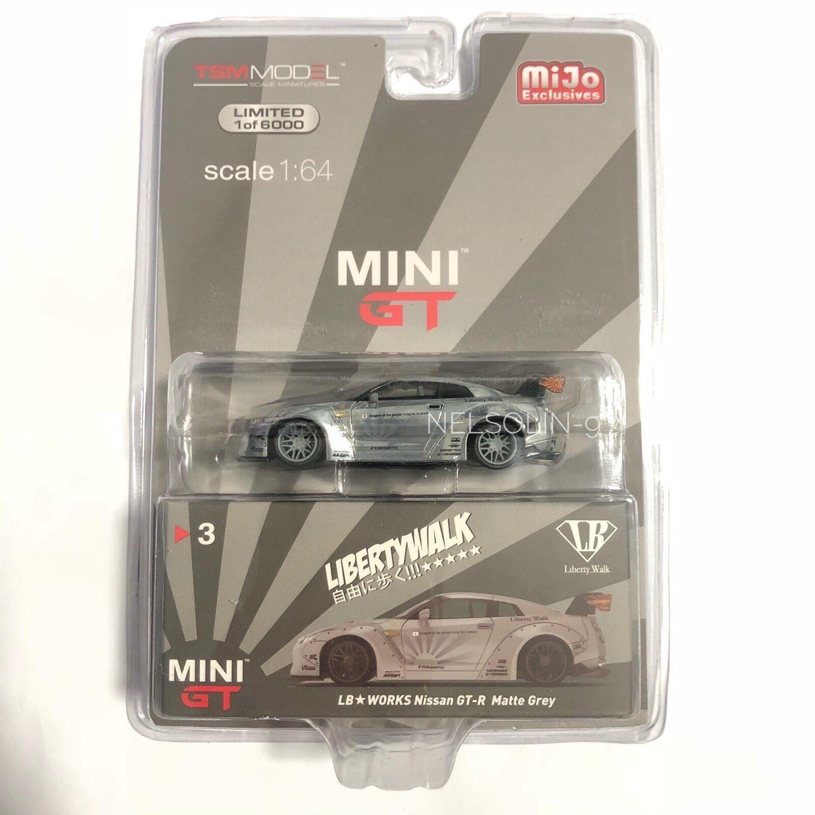 MINI GT 1 64 Nissan GTR R35 LB arbetar Matte grå CHASE bil