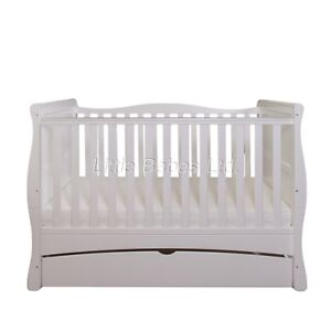 New-Baby-White-Sleigh-MASON-Cot-Bed-With-Drawer-Optional-Mattress-140x70x10cm