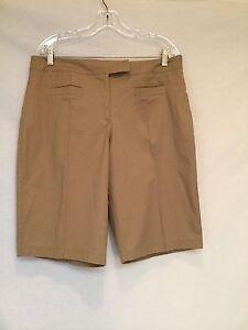 Ladies FIBERS-BARBARA LESSER- Walking Shorts-Khaki-Size 14 | eBay