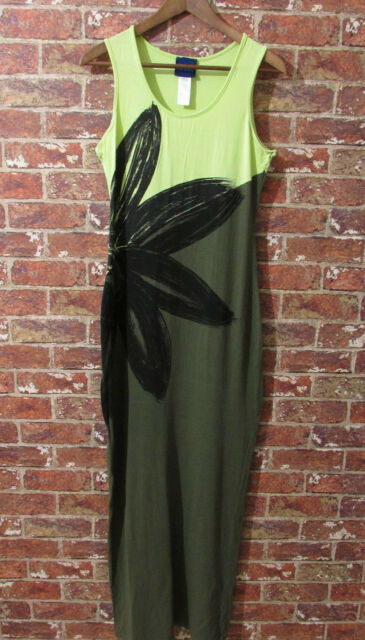 Kenzo Jeans Maxi Dress Green sz L Flower Graphic Summer Beach Holiday