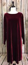 Jacqueline Ferrar 18W Dress Red Burgundy Velvet Long Sleeve A-Line Plus Holiday