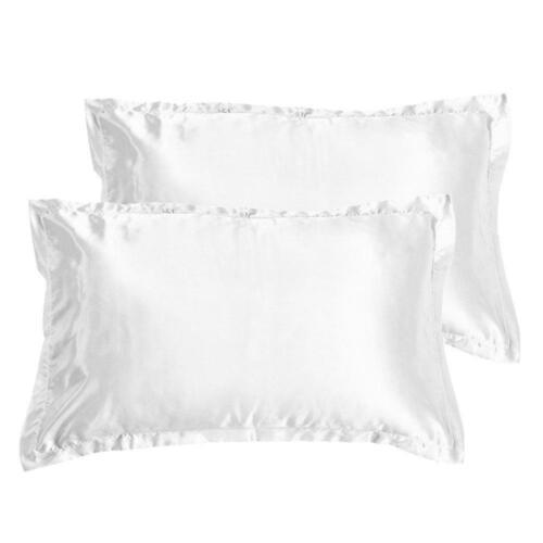 2x White Silk Pillow Case Standard/Queen Size  Breathable Natural Organic Fiber