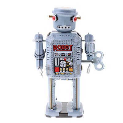 4pcs Mini Wind Up Walking Robot Clockwork Tin Toy with Key Collectible Gifts