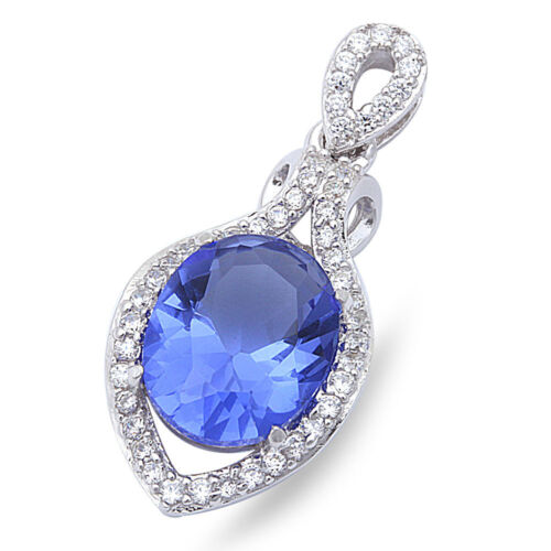 """6 Colors Available New Fashion Cz .925 Sterling Silver Pendant 1/"""" long"""