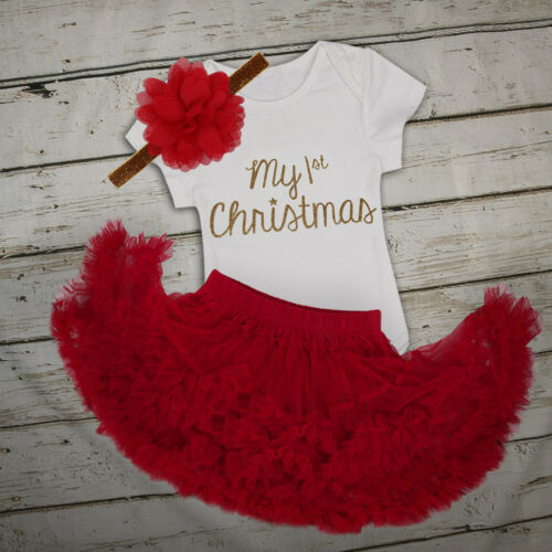 First Christmas Costume Infant Baby Girls Santa Romper Tutu Dress Party Outfits