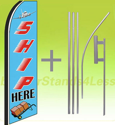 bz Swooper Flag KIT Feather Flutter Banner Shipping Sign 15/' Set SHIP HERE