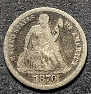 1870 Seated Liberty Silver Dime 10c Better Date Type Coin Rare RPD F-104 Top-100