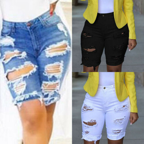 Womens Ladies Vintage Distressed Ripped Hole Denim Shorts Summer Jeans UK 8-18