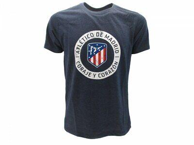 T-shirt Atletico Madrid Ufficiale Originale Blu Nuovo Logo Atm Coraje Corazon