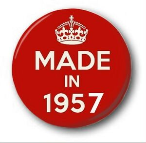 Fabricado-en-1957-2-5cm-25mm-Boton-Insignia-Lindos-62nd-Cumpleanos