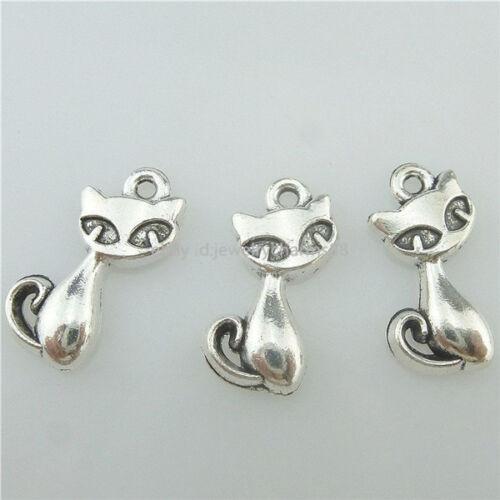 15365 50PCS Alloy Antique Silver Vintage Mini Animal Cat Pendant Charm