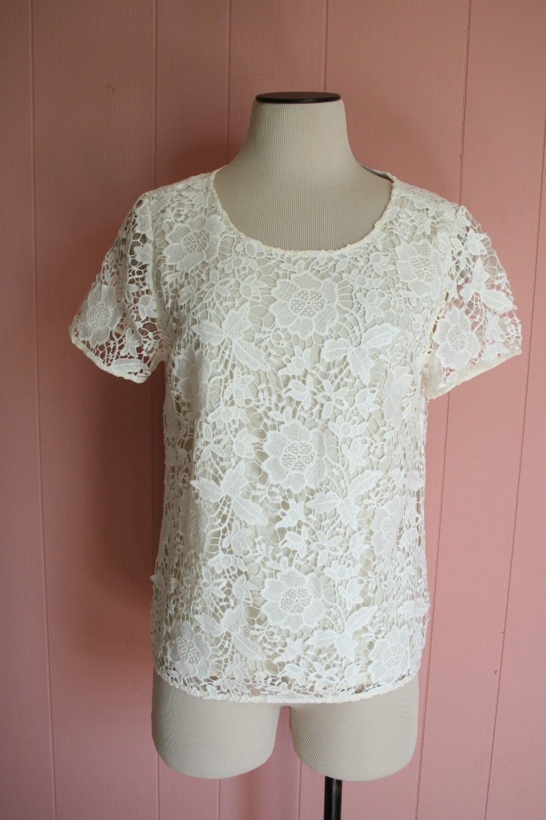 Madewell Meadowlace Tee S Small 2 4 6 Pearl White Ivory Floral Lace Top NWT