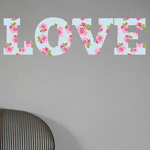 love shabby chic floral full colour wall sticker decal home shabby chic floral full colour wall sticker decal