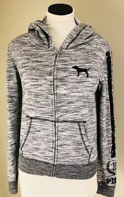 Apprehensive Victoria Secret Pink Zip-up Hooded Sweatshirt Sequins, Size Small Excellent Quality