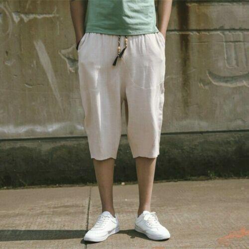 Hommes Pantalon raccourci Lin Coton Capri Pantalon Harem Short Baggy Mi-Mollet Rouge