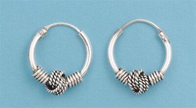 """4134 Lowest Price! Bali Hoop .925 Sterling Silver Earrings .25"""""""