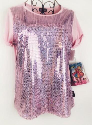 Girls JoJo Siwa Pink Top Sequin Bling Party Short Sleeve M XL XL QLT1 F19
