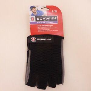 Schwinn-Adult-Large-XL-Half-Finger-Black-Mesh-Back-Bicycle-Cycling-Gloves