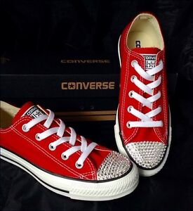 Red Cherry Converse w  Swarovski Crystal Bling Chuck Taylor Low All ... 4b3df03393d8