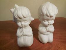 Vintage Set - Praying Boy & Girl Salt & Pepper Shakers White Bisque (Japan)