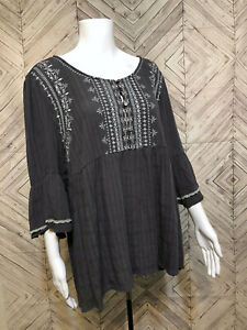 Knox-Rose-Gray-Bell-Sleeve-Button-Up-Embroidered-Gypsy-Boho-Blouse-Womens-2XL