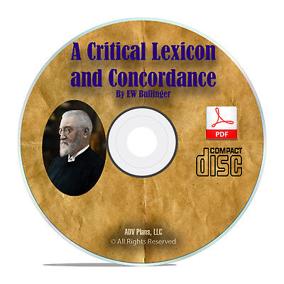 A Critical Lexicon And Concordance E W Bullinger Bible Dictionary PDF CD H07 EBay