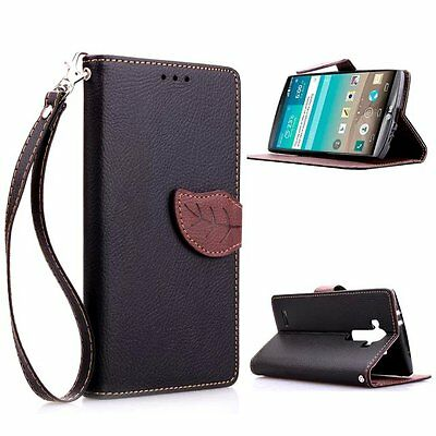 Pretty Sleek Wallet Card Strap Leather Stand Phone Leaves Case For LG G2/G3/G4