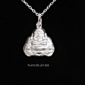 COLGANTE-BUDA-Feliz-14-mm-PLATA-de-LEY-925-con-CADENA-Plata-DE-LEY-45-cm