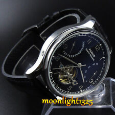 43mm Parnis Power Reserve Black Dial Seagull Automatic Men's Watch