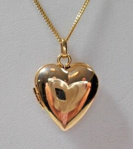 Tiffany-amp-Co-14K-Yellow-Gold-Heart-Locket-Pendant-16-18-034-Necklace-w-Pouch-amp-Box
