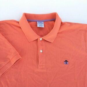 Lot-of-2-Brooks-Brothers-Mens-XL-Orange-Green-Short-Sleeve-Slim-Fit-Polo-Shirt