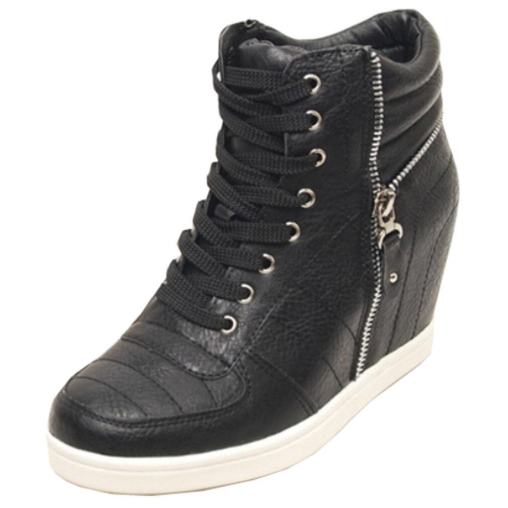 Epicsnob Donna Shoes High Top Wedges Hidden High Heel Lace Up Fashion   da Ginnastica