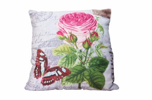 DECO Coussin Avec Remplissage 45x45 fleurs roses Coussins du canapé déco vintage