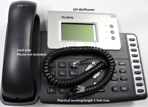 Charcoal Gray 9 Ft Yealink Handset Cord SIP T-Series Phone HNDSTCRD2 Coil Curly