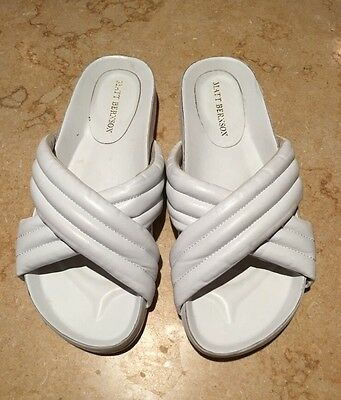 Matt Bernson Raven Cushioned Slides Sandals White Leather Sz 6 M EUC