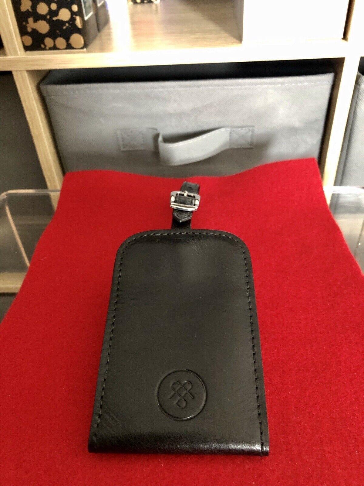 Black Maxwell Scott Ledro, Italian Handcrafted - Full Grain Leather luggage Tag.