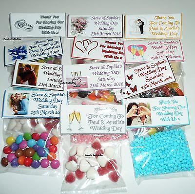 100 Personalizzato Matrimonio Sweet Bag Wrappers Favorisce, Inviato 1st Class- Ricco E Magnifico