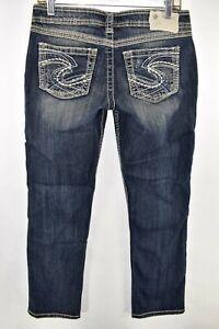 Silver-Jeans-Twisted-Capri-Crop-Womens-Jeans-Size-27-Blue-Meas-29x27-Stretch