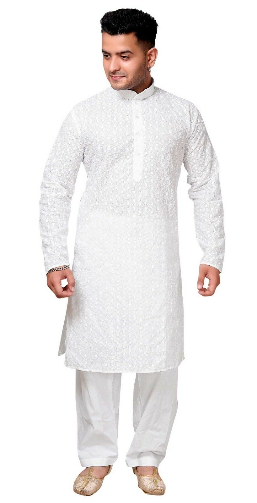 Men White indian kurta pyjama shalwar kameez in Cotton Causal Asian wear