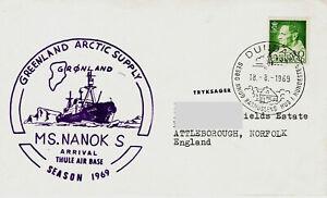 Polarpost Grönland:  Greenland Arctic Supply - MS NANOK S - Thule Air Base 1969