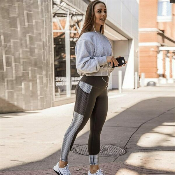 Damen Fitness Mesh Leggings Push Up Stretch Tight Sport Yoga Jogging Hose GYM