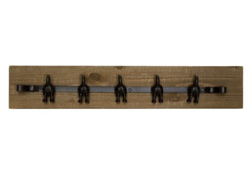 Cast Iron Wagging Dog Tails Wall Mounted Hooks on Wood Plaque Key Coat Rack