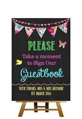 Bright Chalkboard Style Sign Our Guestbook Personalised Wedding Sign